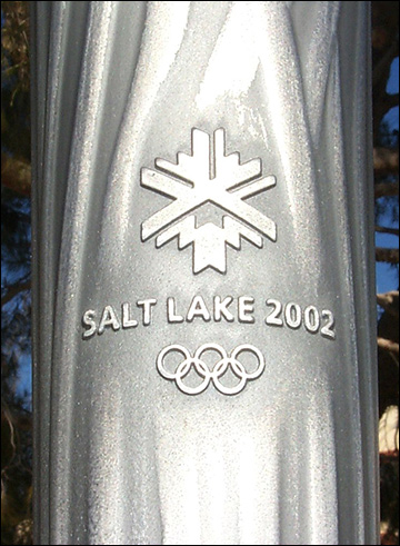 Close-up of 2002 Winter Games Olympic Torch / via Wikimedia Commons