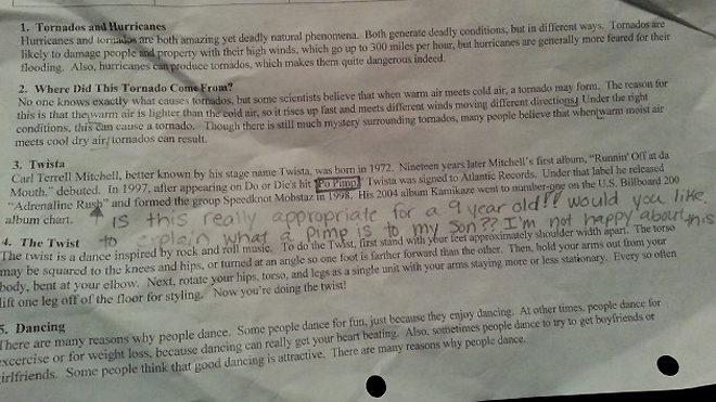 Photo: Todd's American Dispatch hoto of homework worksheet