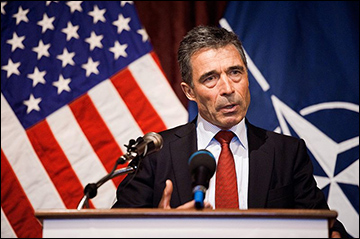 Anders Fogh Rasmussen speaks in Austin, Texas.