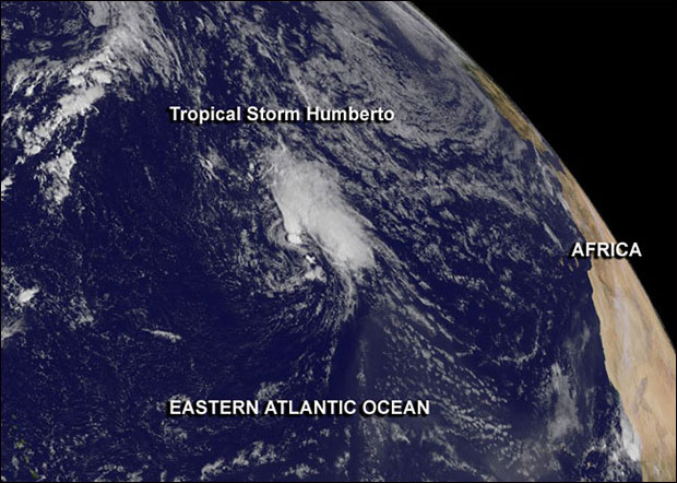 """This GOES-East image from Sept. 16 shows Tropical Storm Humberto, the Atlantic Ocean's second """"zombie storm"""" of the year, spinning in the eastern Atlantic. Image Credit:  NASA GOES Project"""