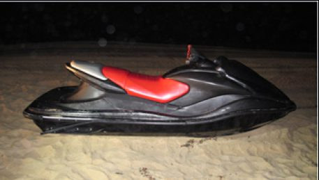 A Jet Ski pulled from the water near the mouth of the Tijuana River in Imperial Beach after an incident in May. Photo credit: U.S. Border Patrol