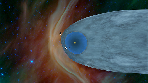 Beyond the Bubble: The general locations of Voyager 1 and 2 are shown in this illustration at the edge of the heliosphere, the bubble created by solar wind. Image Credit:  NASA/JPL-Caltech
