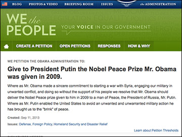 "Petition states Putin ""enabled the US to avoid unwanted and unwarranted military action..."""