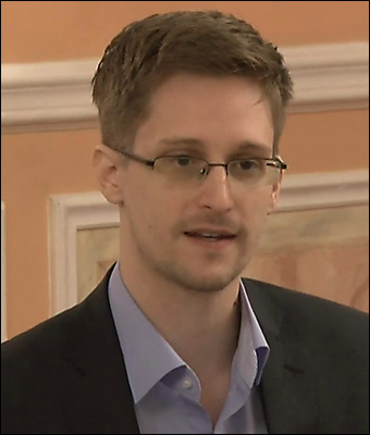 Edward Snowden during a recent presentation in Moscow.  Credit: McZusatz via Wikimedia""