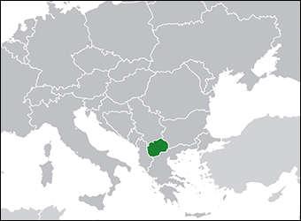Macedonia, in green, in relation to the other countries of eastern and central Europe.  Greece is to the immediate southeast.  Credit: Maplab via Wikipedia.