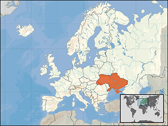 Ukraine highlighted in orange.  The capital of Ukraine, Kiev, is about 530 miles from Moscow, the capital of Russia. Credit: David Liuzzo via Wikimedia