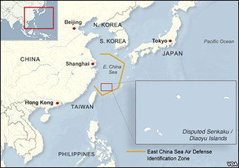 "The area of China's so-called ""Air Defense Zone."""