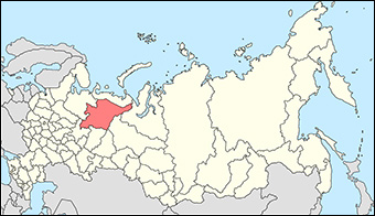 The town of Vorkuta is in the extreme northeast of the Komi Republic of Russia, highlighted in orange. Credit: Marmelad via Wikipedia