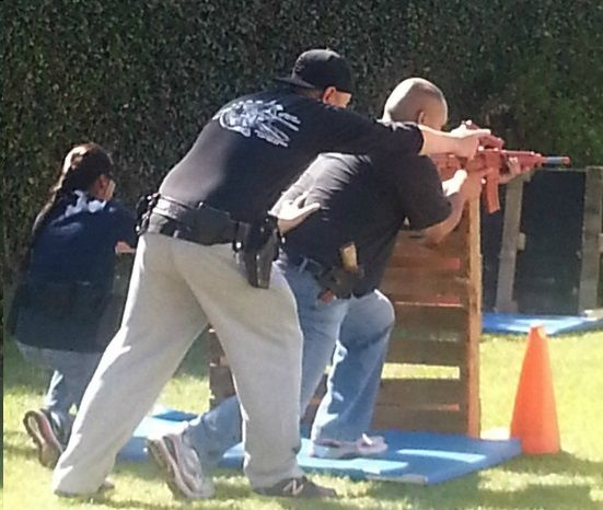 LAX police aim their weapons during an active shooter drill conducted weeks before the Nov 1 shooting.