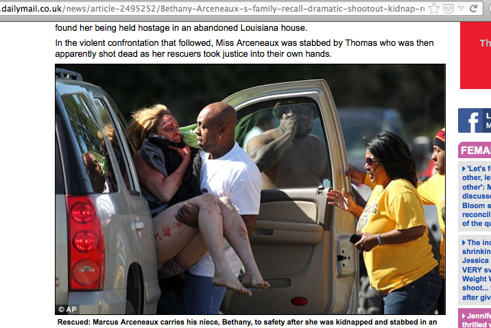 Image shows rescue of bloodied kidnap victim. Rescued: Marcus Arceneaux carries his niece, Bethany, to safety after she was kidnapped and stabbed in an abandoned house / Screen grab via DailyMail.co.uk.