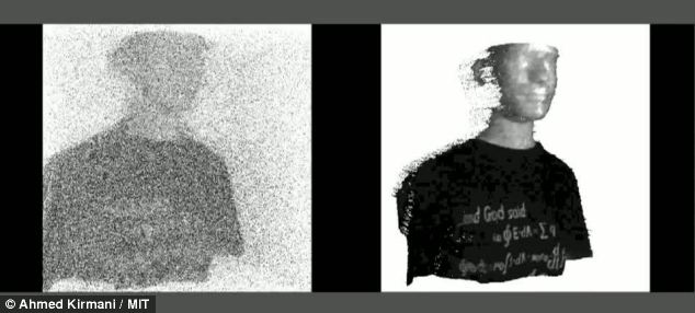 The camera works by reconstructing 3D images from photons reflected from barely visible objects. On the left is an image created by using current technologies, while the image on the right uses the scientists' new device