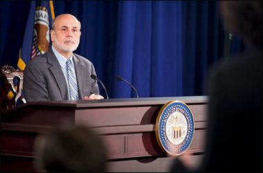 Chairman Ben S. #Bernanke listens to a question at the #FOMC press conference / image via Twitter.