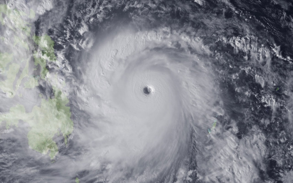 Typhoon Haiyan moves toward the Philippines, Nov. 7, 2013, in the Pacific Ocean. The storm is packing sustained winds of 140 mph / NOAA via Getty Images