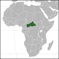 The location of the Central African Republic in green.