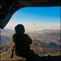 The mountains of Afghanistan seen from the back of a CH-47D Chinook helicopter. Credit: U.S. Army