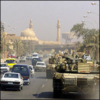A city street of Baghdad during the 2003 invasion.
