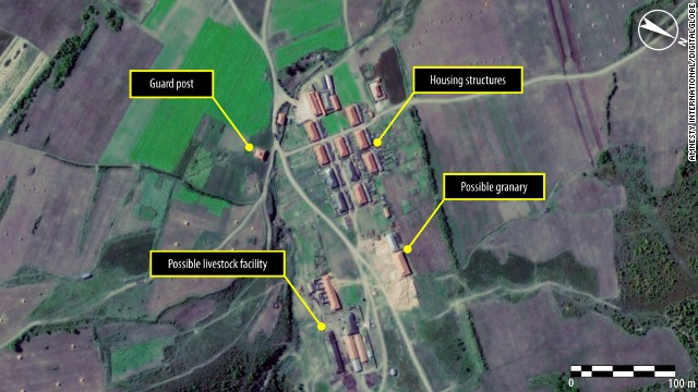 A satellite image of a village in the northern part of North Korean political camp 16 (Kwanliso) taken in September 2011.