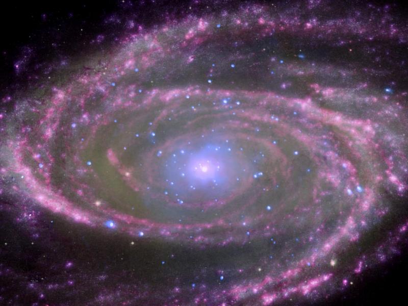 Center of spiral galaxy M81 is a supermassive black hole about 70 million times more massive than our sun. / Image Credit: X-ray: NASA/CXC/Wisconsin/D.Pooley & CfA/A.Zezas; Optical: NASA/ESA/CfA/A.Zezas; UV: NASA/JPL-Caltech/CfA/J.Huchra et al.; IR: NASA/JPL-Caltech/CfA