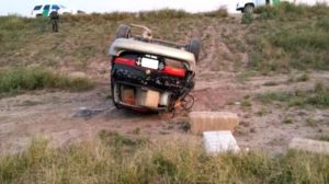 More than 1,100 pounds of marijuana were seized from this minivan after it rolled over Saturday, Dec. 21, 2013. Photo courtesy of Border Patrol