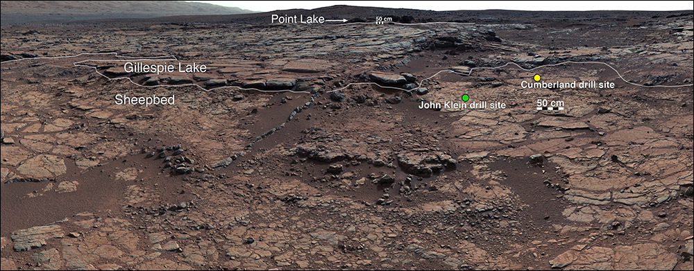 """This mosaic of images from Curiosity's Mast Camera (Mastcam) shows geological members of the Yellowknife Bay formation, and the sites where Curiosity drilled into the lowest-lying member, called Sheepbed, at targets """"John Klein"""" and """"Cumberland."""" / Image Credit: NASA/JPL-Caltech/MSSS"""