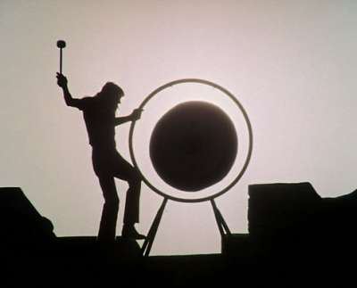 """Waters bangs a gong in Pink Floyd's """"Live at Pompeii"""" video."""