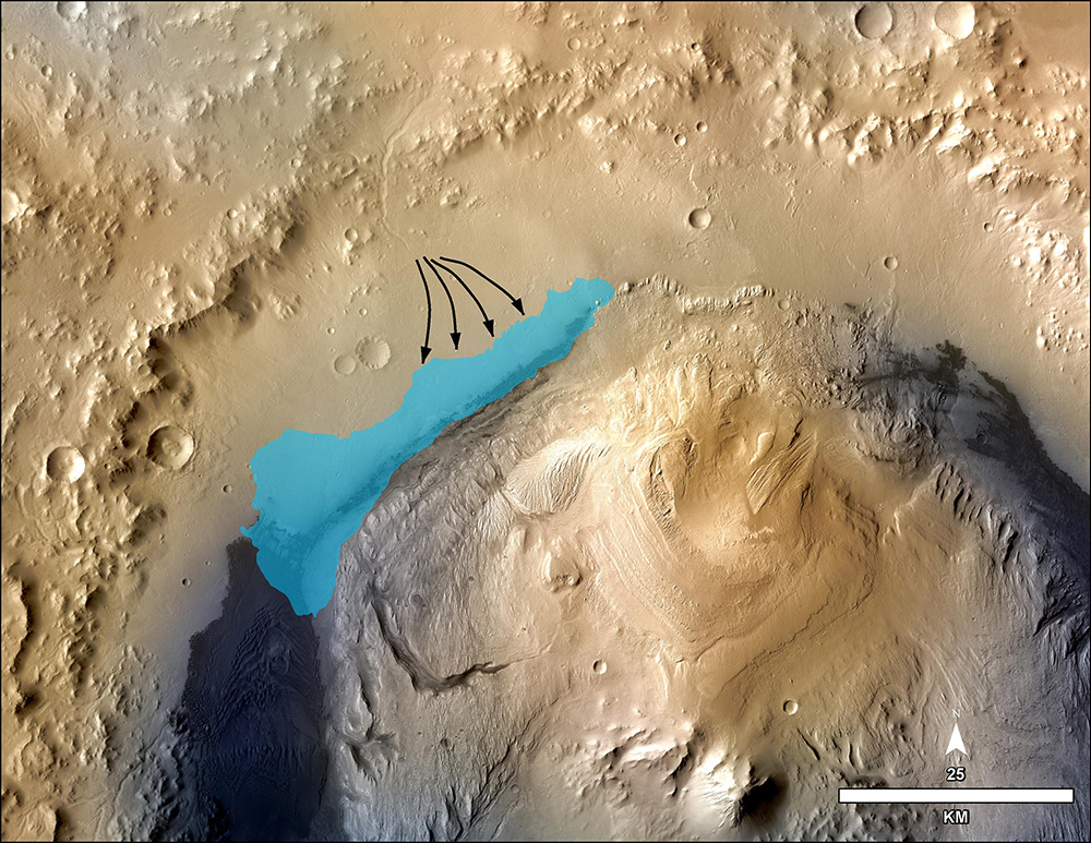 This illustration depicts a concept for the possible extent of an ancient lake inside Gale Crater. / Image Credit: NASA/JPL-Caltech/MSSS