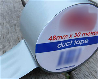 """White adhesive tape"" was reportedly used to cover radioactive water sitting in tanks. Credit: Politas via Wiki"