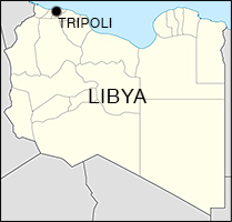 The location of Tripoli within Libya.
