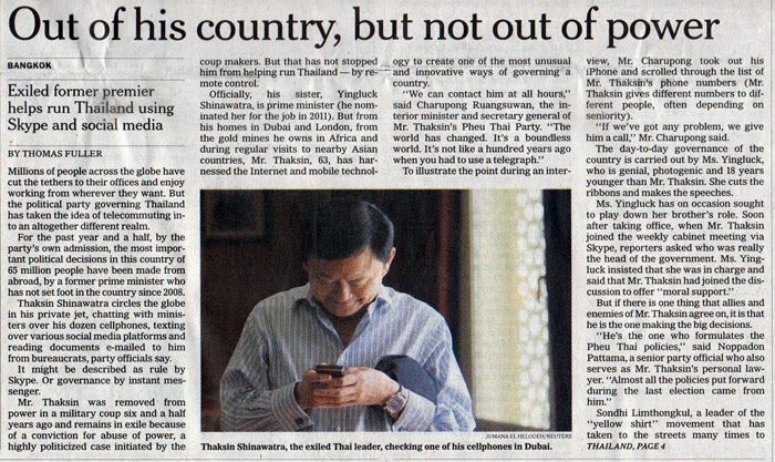 Image: The New York Times openly admits that Thailand is currently run by unelected convicted criminal/fugitive Thaksin Shinawatra. Clearly any proxy government or elections in which it participates in are illegitimate by both Thai and international standards. Thaksin's foreign ties are what have afforded him impunity regarding an otherwise cartoonish, 3rd world dictatorship.