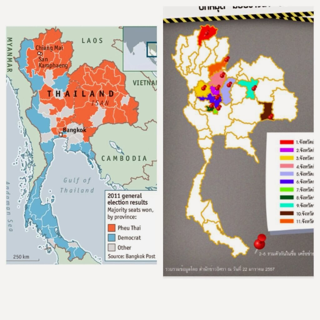 """Image: (left) 2011's election results showing most, but not all northern provinces under Thaksin Shinawatra's proxy regime in red. (right) Provinces where rice farmers are now blocking roads in protest to Thaksin's vote-buying rice scam that has collapsed in bankruptcy and scandal - dousing the absurd """"secession"""" theory floated by the Economist and others."""
