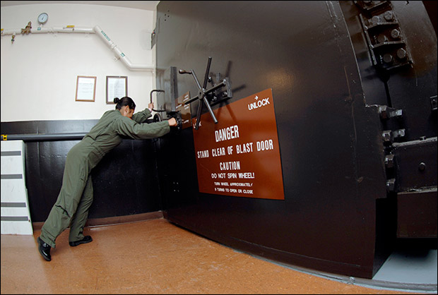 Blast door in a missile control bunker. Photo: Wikimedia Commons