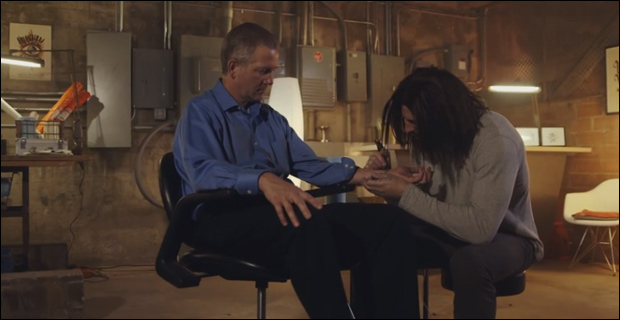One video from the Jesus Tattoo campaign depicts Jesus as a tattoo artist who helps others cope with various negative stigmas. / Screengrab from JesusTattoo.org.
