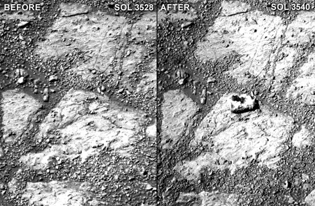 "A comparison of two raw Pancam photographs from sols 3528 and 3540 of Opportunity's mission (a sol is a Martian day). Notice the ""jelly doughnut""-sized rock in the center of the photograph to the right. Minor adjustments for brightness and contrast."