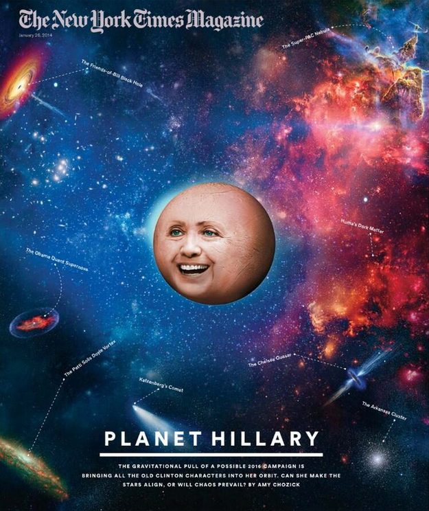 New York Times Magazine cover: Planet Hillary. Click image to see a larger image.