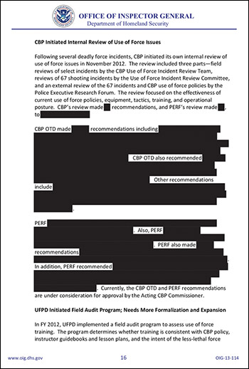 Redacted page from report on border shootings.