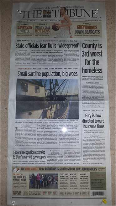 The San Luis Obispo Tribune carried the L.A. Times' article at a fishing port in Avila Beach, California.