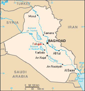 The location of Fallujah within Iraq.