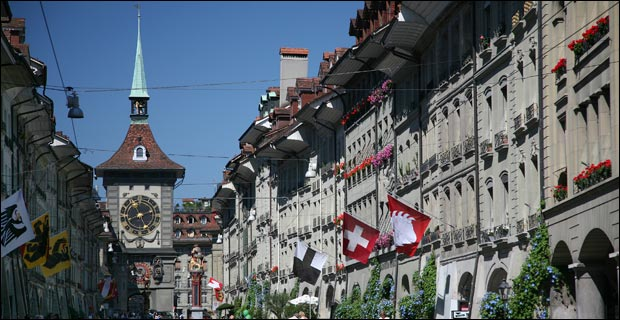 "The Kramgasse (""Grocers Alley"") in Bern, which is the capital of Switzerland. Credit: Daniel Schwen via Wiki"