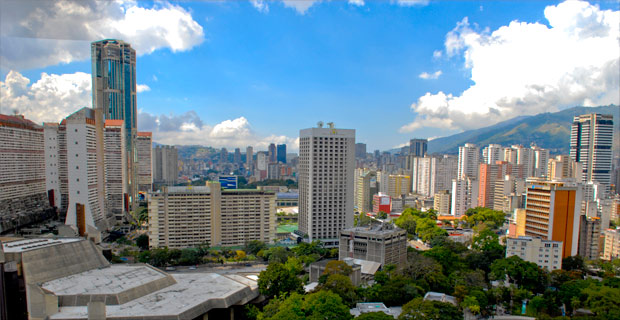 Downtown Caracas, which is the capital and largest city in Venezuela.  The city has been rocked by rioting recently.