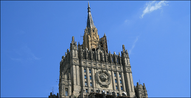 Russia's Ministry of Foreign Affairs is one of the last remaining buildings that still shows the symbol of the former USSR. Credit: brostad via Flickr