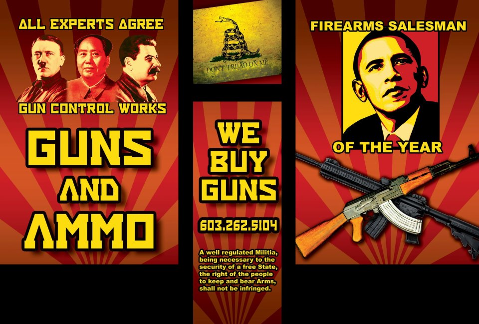 """New Hampshire gun store poster: Obama is """"Firearms Salesman of the Year."""""""