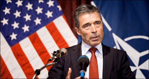 """NATO's Anders Fogh Rasmussen: """"We stand ready to continue assisting Ukraine in its democratic reforms."""" Photo: U.S. Defense Department"""
