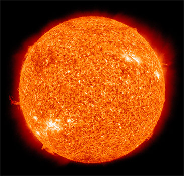 The sun is powered by nuclear fusion, which smashes hydrogen nuclei together to make helium.