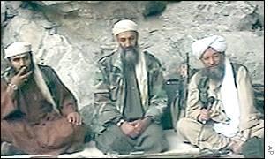 Sulaiman Abu Ghaith, Osama bin Laden and Ayman al Zawahiri, from an al Qaeda propaganda tape / Image via Wikimedia Commons