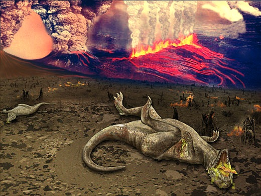 Picture depicts extinction of dinosaurs in Deccan Traps in Western Ghats, India