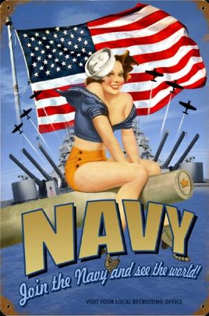 Navy Pin-Up Girl Metal Sign / via HistoricAviation.com