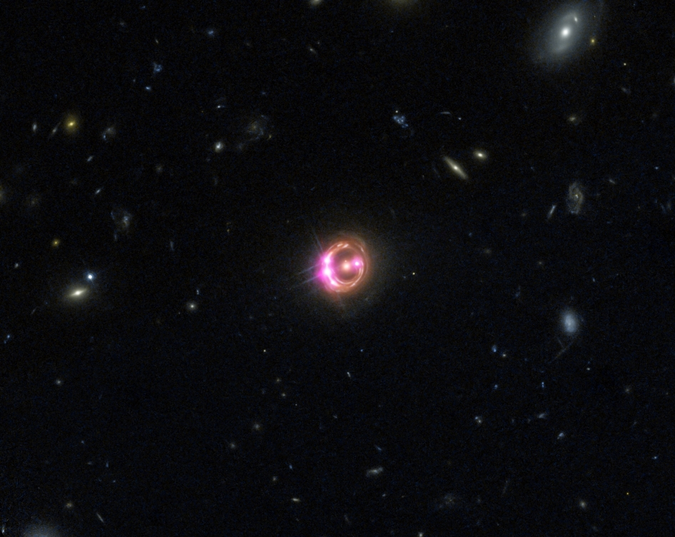 Quasar known as RX J1131-1231 (RX J1131 for short), located about 6 billion light years from Earth. (Click to enlarge)