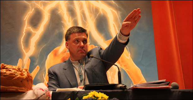 """Oleh Tyahnybok has claimed a """"Moscow-Jewish mafia"""" rules Ukraine and """"Germans, Kikes and other scum"""" want to """"take away our Ukrainian state."""" Photo: libcom.org"""