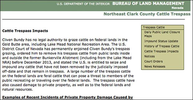The first segment of the document pulled by the feds from BLM.gov.