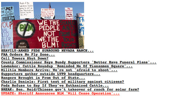 The coverage of the Nevada standoff on the Drudge Report, the #1 news aggregate in the world.